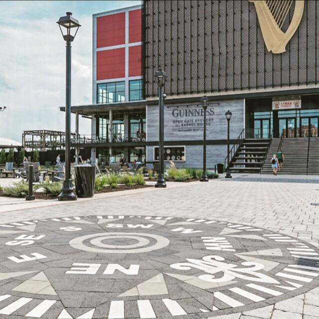 guinness brewery, compass rose, paverart, landscape design, paver logo, landscape architecture, outdoor living