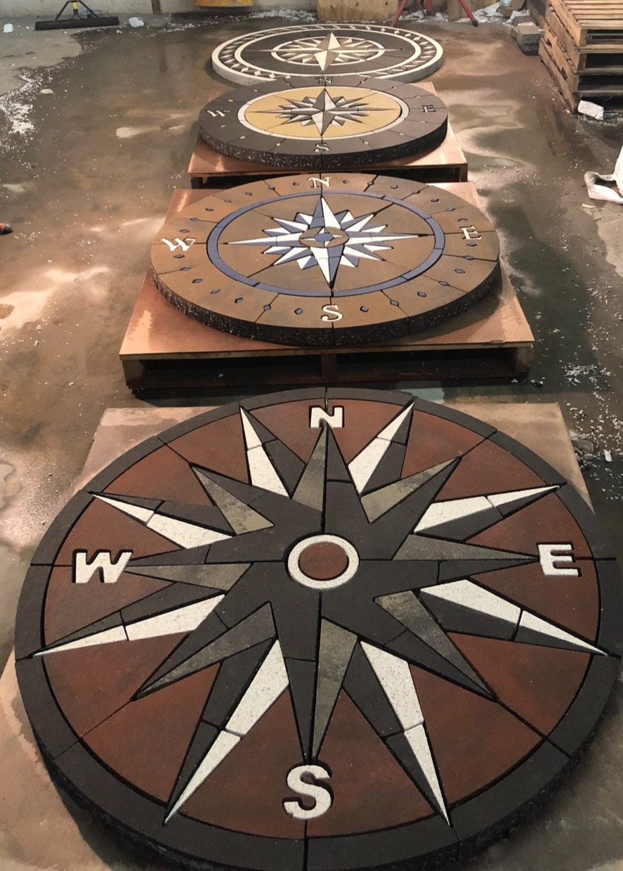 compass rose, compass inlay, inlay, custom pavers, paver compass, landscape design, patio ideas