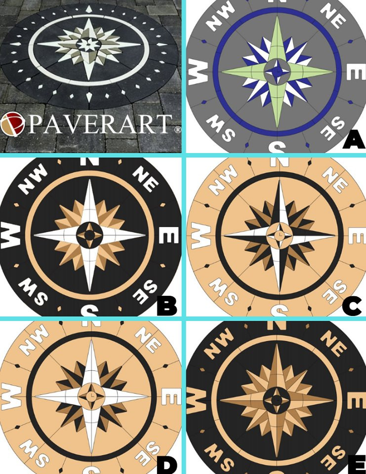 PAVERART, Compass rose, compass rose paver kit, patio, inlay, patio inlay, outdoor living, landscape design, landscape architecture
