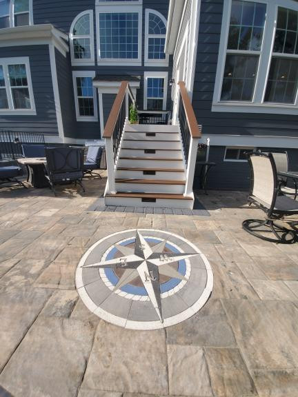 paverart, compass rose paver kit, inlay, patio ideas, nautical compass, landscape design, patio design
