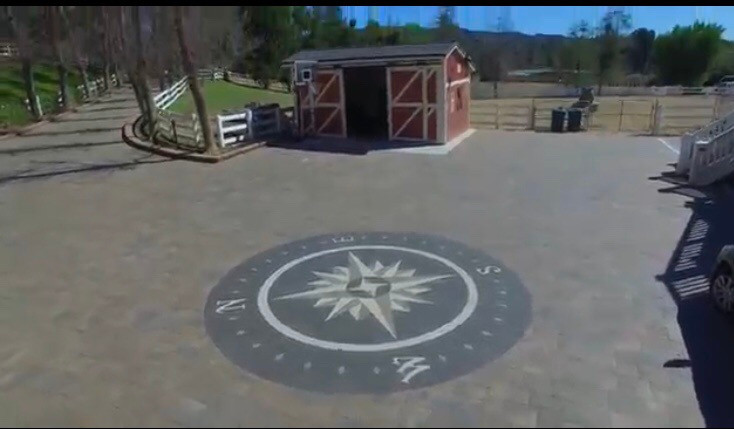 paverart, compass rose, designer driveway, inlay, landscape design, landscape architecture, outdoor living