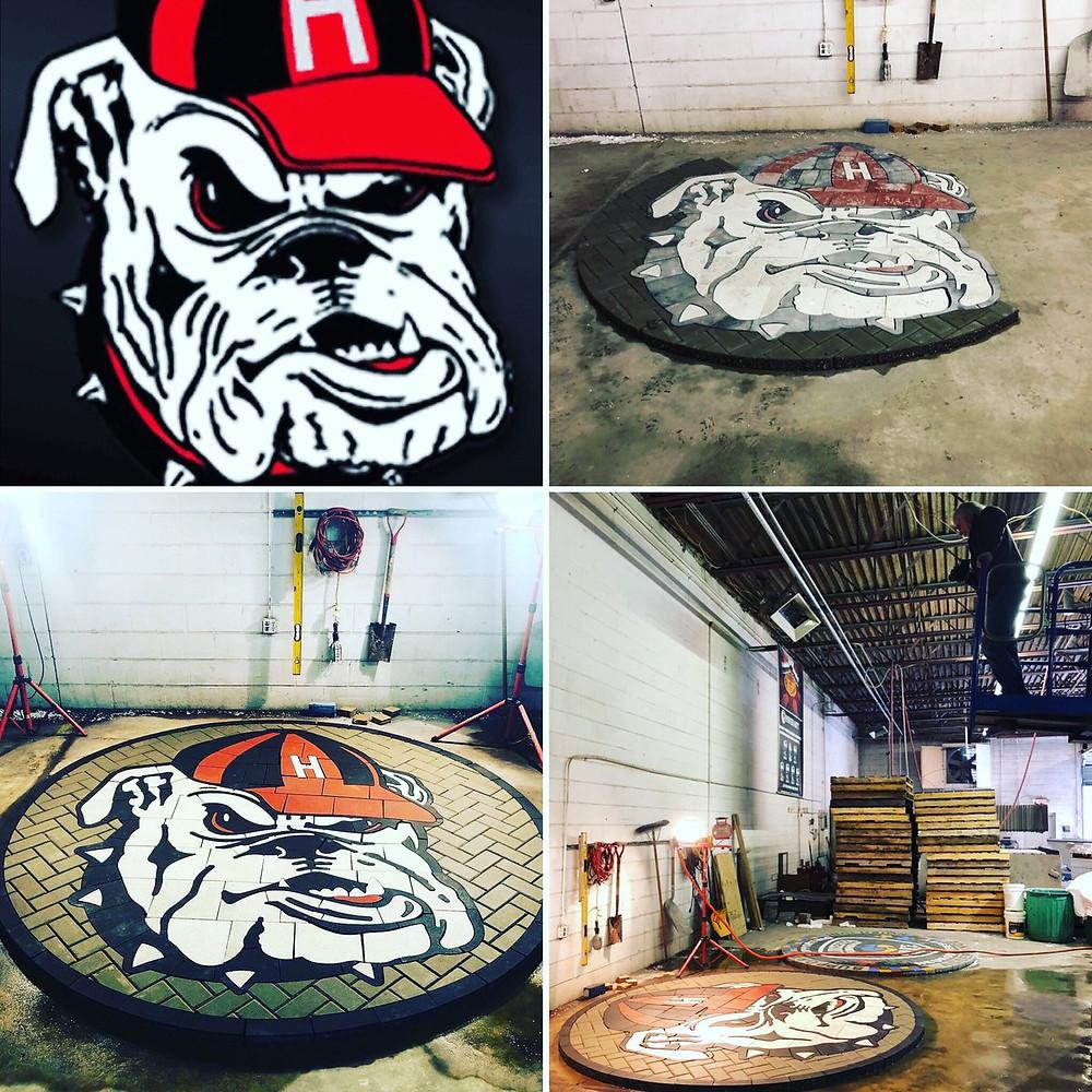 PAVERART, paver logo, paver mascot, manufacturing, landscape architect, school fundraising