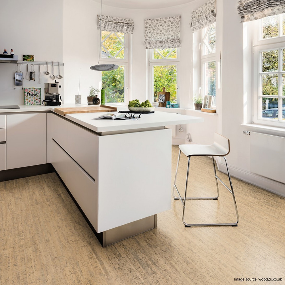 cork flooring sustainable kitchen design ideas