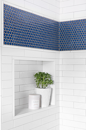 White with Navy Accent Tiles