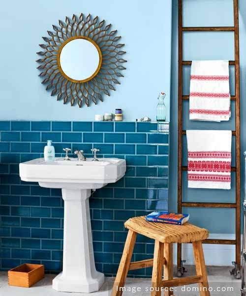light blue grout dark blue tile bathroom