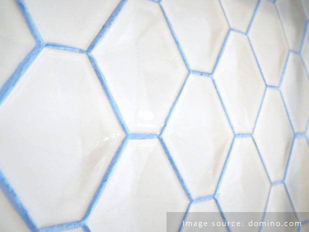 blue grout white tile kitchen