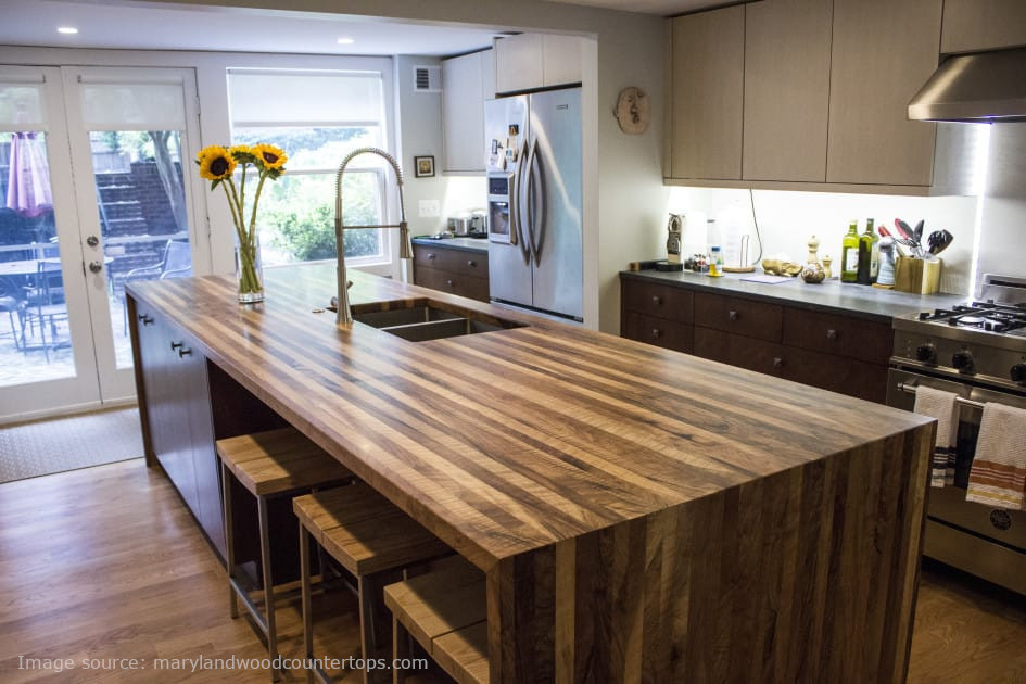 wood waterfall kitchen island countertop
