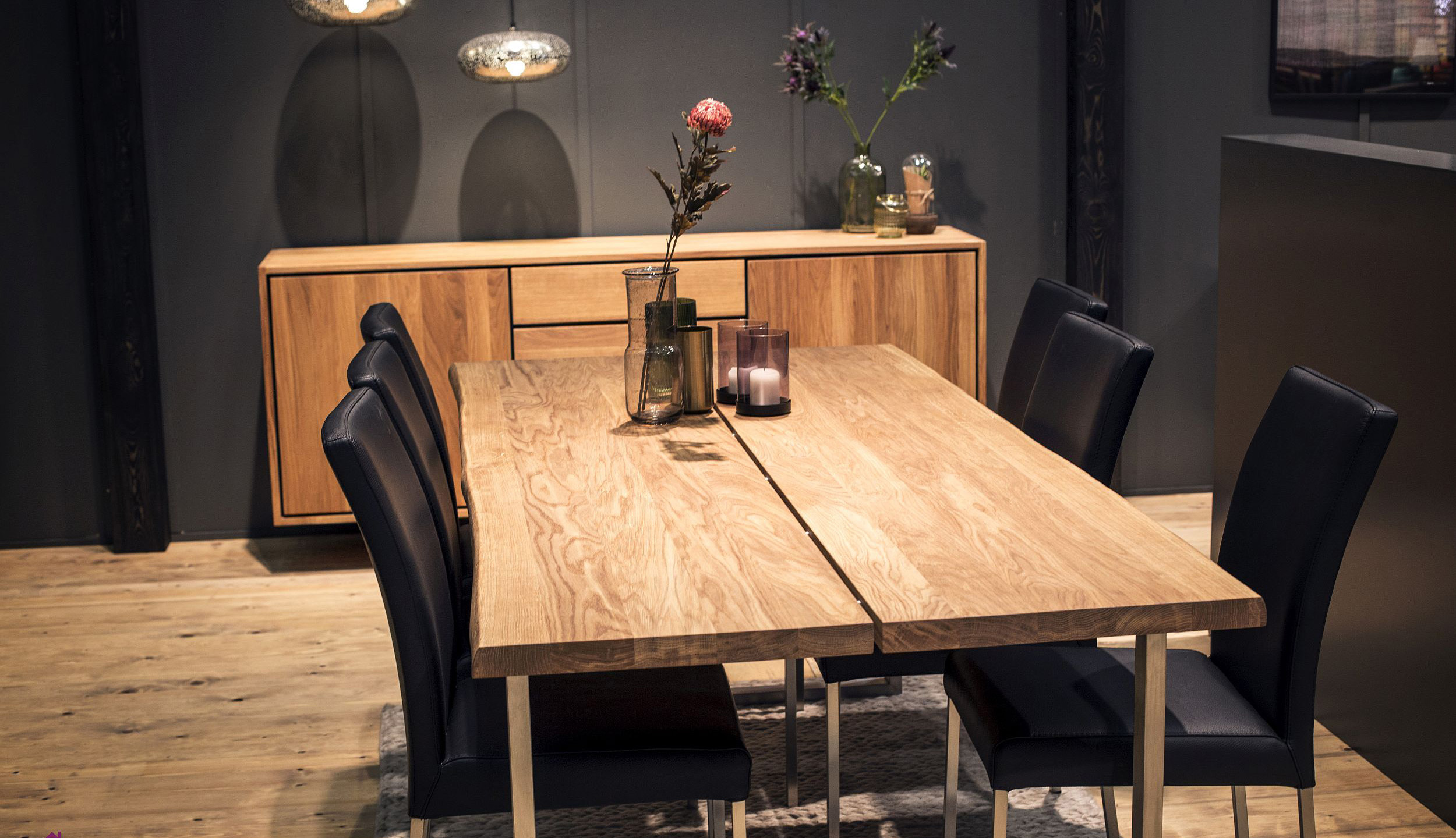 Live-edge wooden dining table