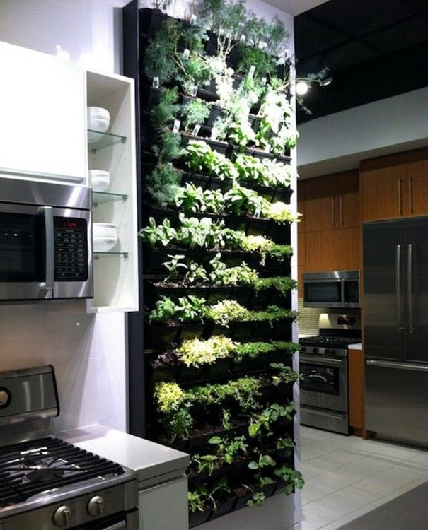 green kitchen remodel vertical herb garden
