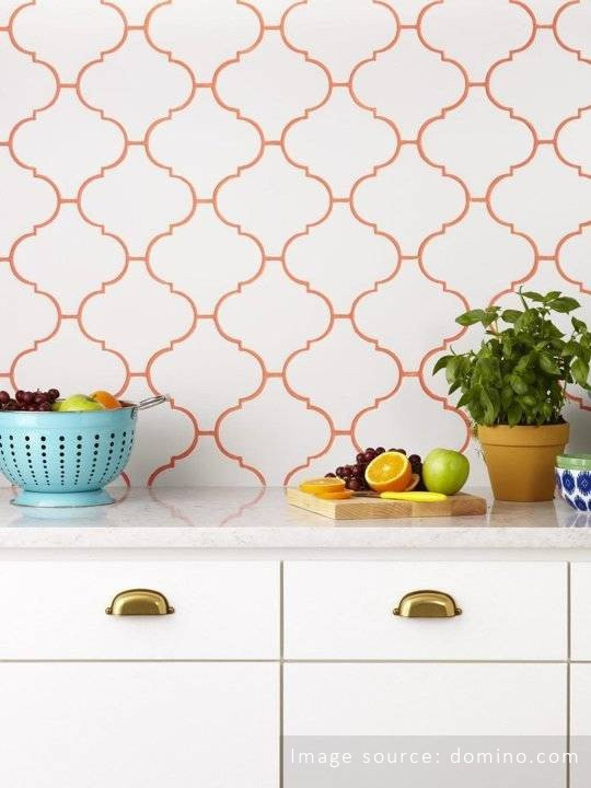Orange grout kitchen