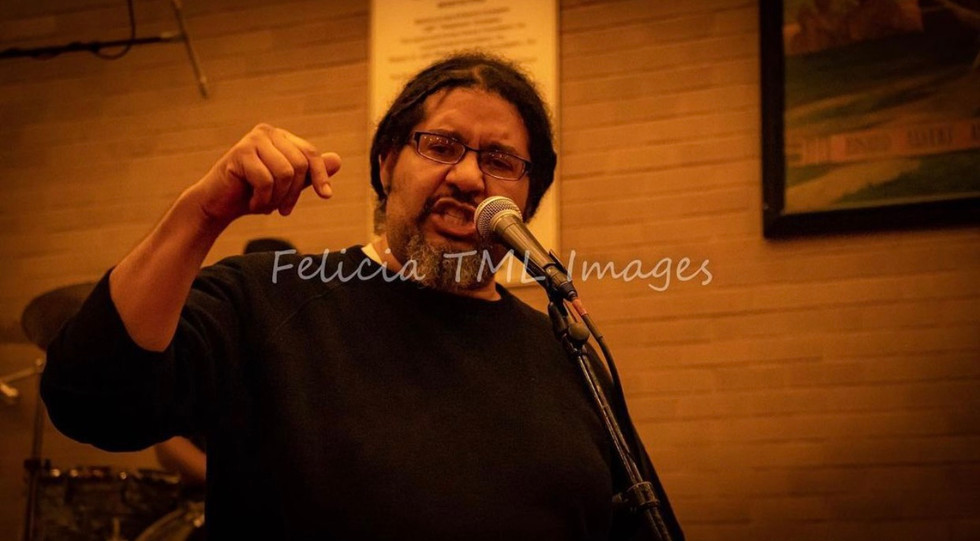 Education Manager Ron Williams, performing at Soul Flow Open Mic