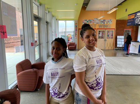 Henderson Hopkins students, Lyric and Samiyah during an Alvin Ailey dance workshop