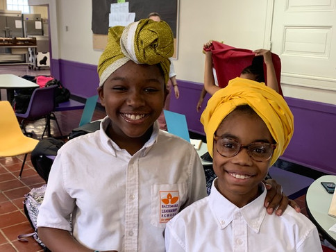 Baltimore Leadership students after a headwrapping workshop with Ebony Evans