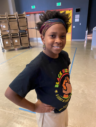 One of our bright stars, Tierany after a workshop at Henderson Hopkins