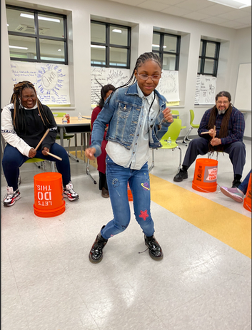 Fun times with our Cherry Hill students during a drumming workshop