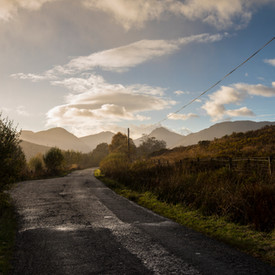 The road to Inversnaid, Arrochar Alps in distance