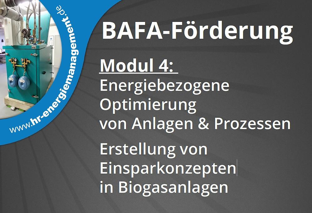BAFA-Förderung Modul 4: Energiebezogene Optimierung von Anlagen & Prozessen www.hr-energiemanagement.de Telefon: 05223 - 1800 939 Fax: 05223 - 1800 947 Mobil: 0171 - 1988 926 Erstellung von Einsparkonzepten in Biogasanlagen