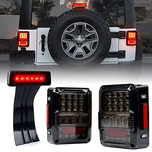 4D Smoke Lens LED Tail lights and 3rd Brake Light Assembly (Smoked and Clear)