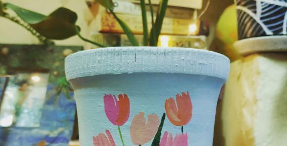 """Teracotta Painted Pot 5"""""""