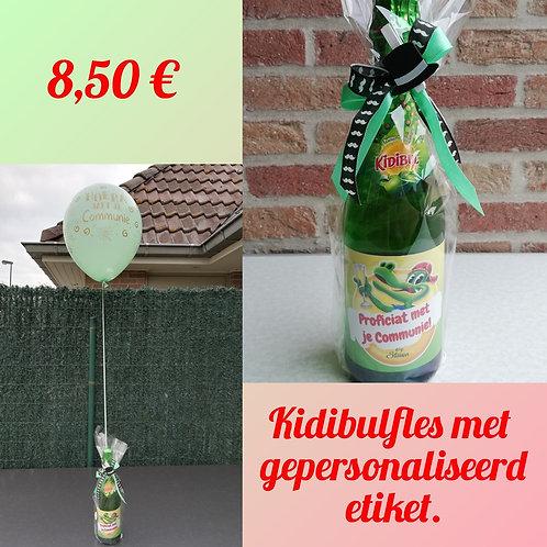 Kidibulfles met gepersonaliseerd etiket + een ballon