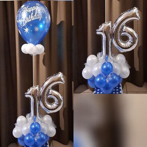 Dubbel Cijfer + Verjaardaglatex Ballon
