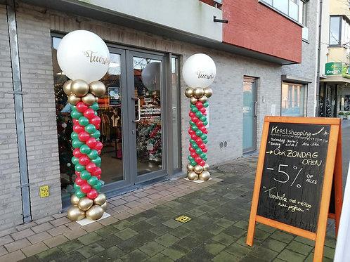 2 Buitenpilaren met naam & mix met kleine  ballonnen (incl. waarborg 100,00 €)