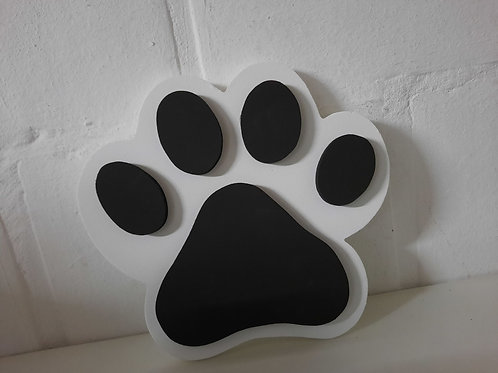 Honden/kattenpoot WIT met ZWART