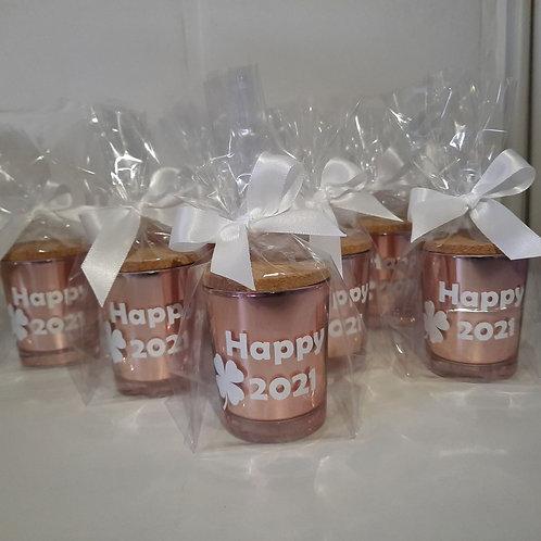 10 x Geurkaars ROSE GOUD glas met kurkdeksel met naam!