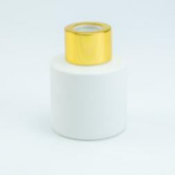 Parfumfles (LEEG) 50 ml: Wit met Gouden dop.
