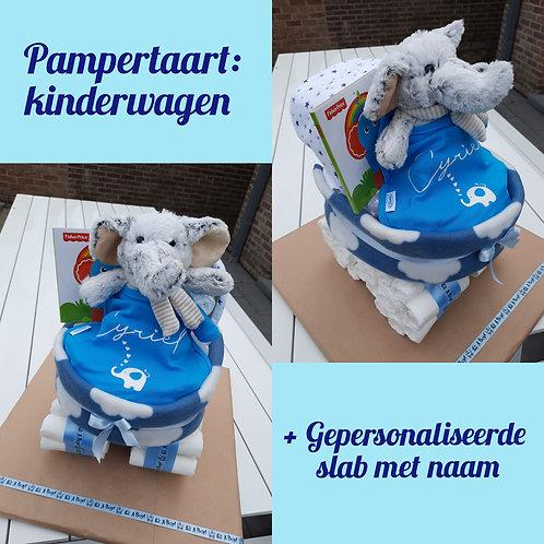 Kinderwagen+ slab met naam XL Pampertaart 65,00 €