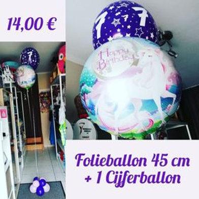 Folieballon 45 cm + 1 Cijferballon