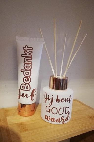 SET Parfumfles & Handcréme: Bedankt JUF + Jij bent goud waard!