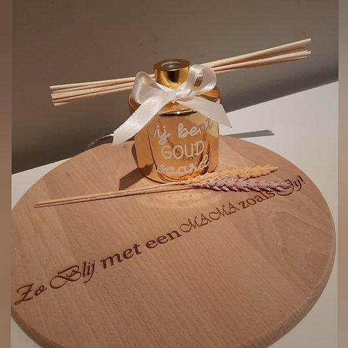 Grote Huisparfum + Gepersonaliseerde houten schijf.