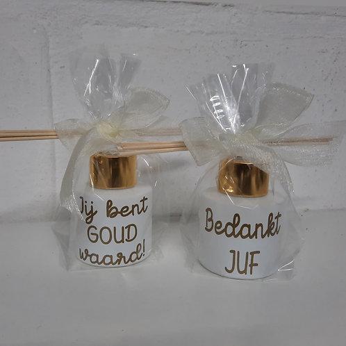 Parfumfles MINI: Wit met Gouden dop JUF