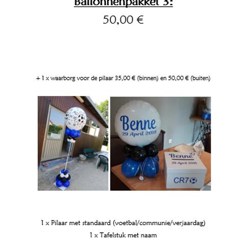 Ballonpakket 3 (met 1 x waarborg BINNENPILAAR van 35,00 €)