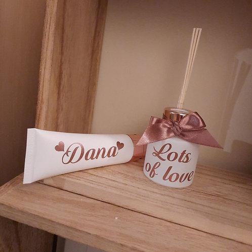 SET Parfumfles & Handcréme: Wit met Rosé Gold.