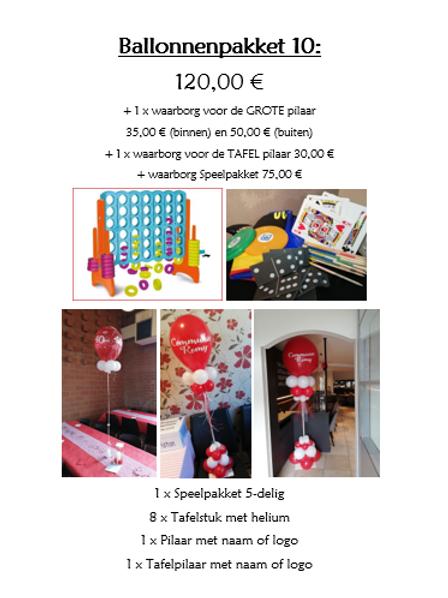 Ballonpakket 10 (BINNENPILAAR met totaal waarborg van 140,00 €)