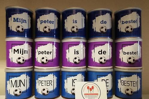 Pringels met een tekst voor Peter.
