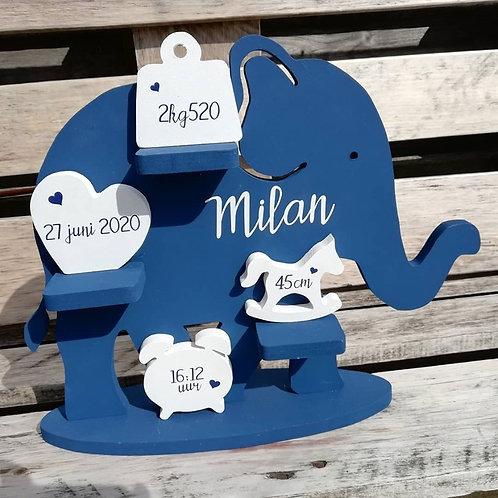 Geboortebord Olifant DONKER BLAUW