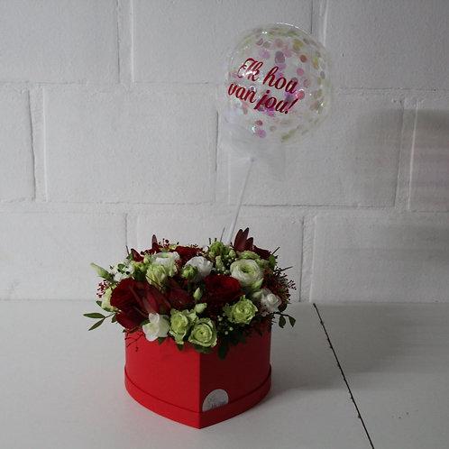 Flowerbox: Hartvorm + Confettiballon met tekst!