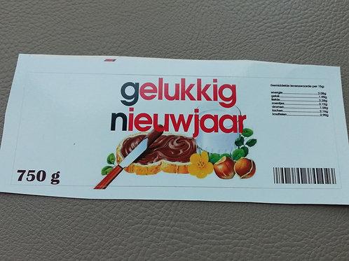 NUTELLA STICKER: Gelukkig nieuwjaar (Enkel de sticker)