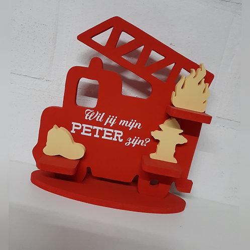 "Geboortebord Brandweerwagen ""Rood met Geel"""
