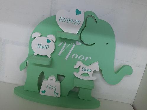 Geboortebord Olifant  MINT GROEN