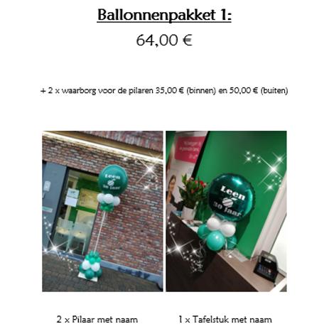 Ballonpakket 1 (met 2 x waarborg BUITENPILAREN 50,00 €)