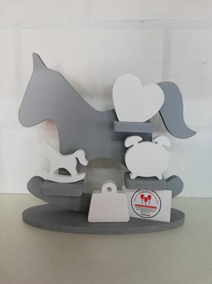 Geboortebord Schommelpaard GRIJS