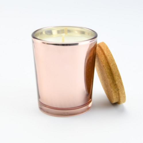Geurkaars ROSE GOUD glas met kurkdeksel met naam!