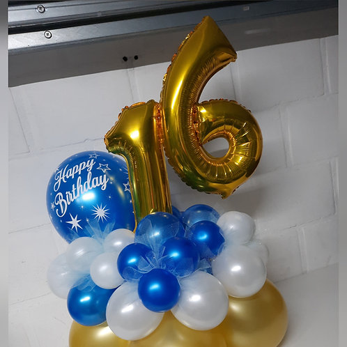 Dubbel Cijfer + Latexballon  (Mediumstuk)
