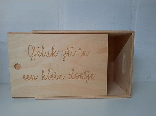 Box met schuifdeksel: Geluk zit in een klein doosje.