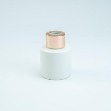 Parfumfles (LEEG) 50 ml Wit met Rosé Gold dop.