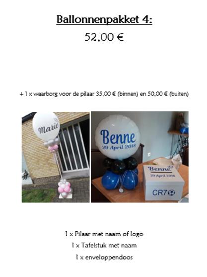 Ballonpakket 4 (met 1 x waarborg BUITENPILAAR 50,00 €)